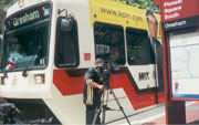 Photo: Filming public transportation in Portland.
